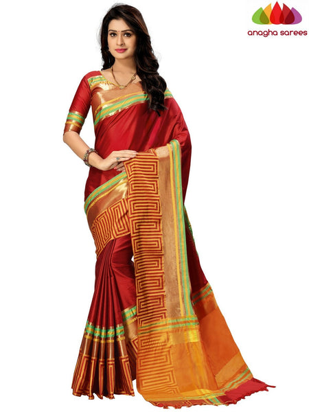 Soft Cotton-Silk Saree - Maroon ANA_B66