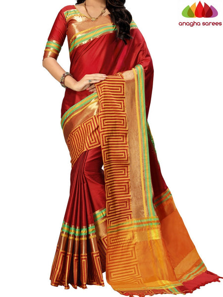 Anagha Sarees Cotton-silk Soft Cotton-Silk Saree - Maroon ANA_B66