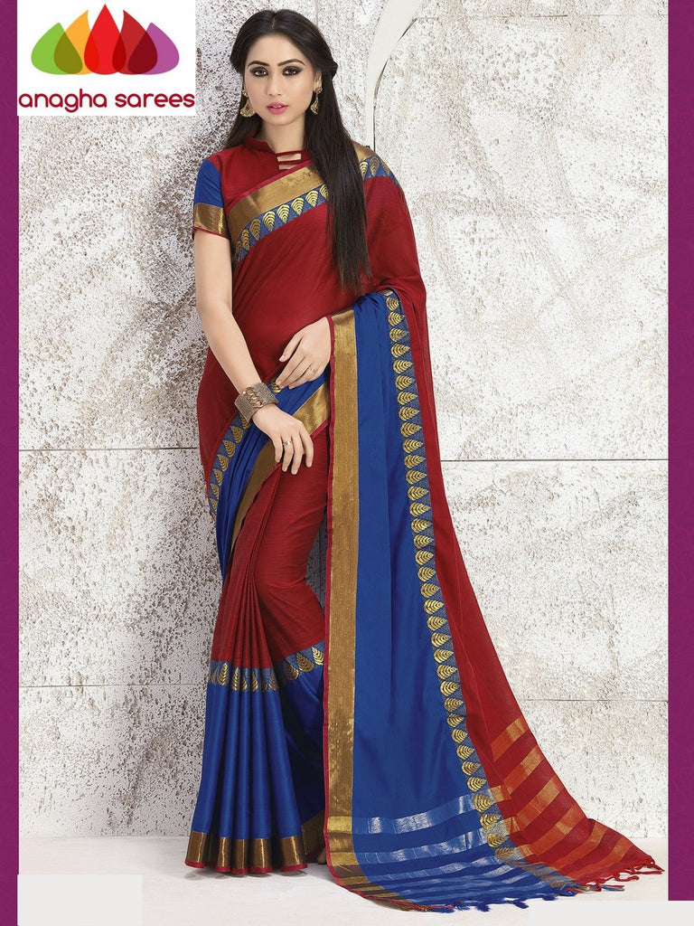 Anagha Sarees Cotton-silk Soft Cotton Silk Saree - Maroon/Blue ANA_763