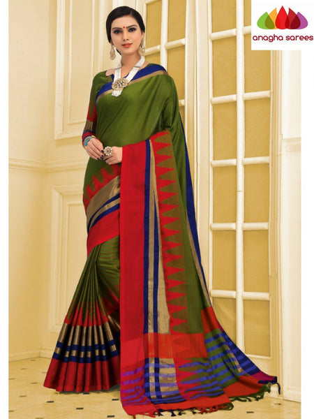Anagha Sarees Cotton-silk Soft Cotton-Silk Saree - Mehendi Green ANA_C11