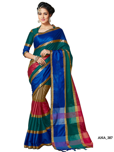 Soft Cotton-Silk Saree - Multicolor  ANA_387 - Anagha Sarees