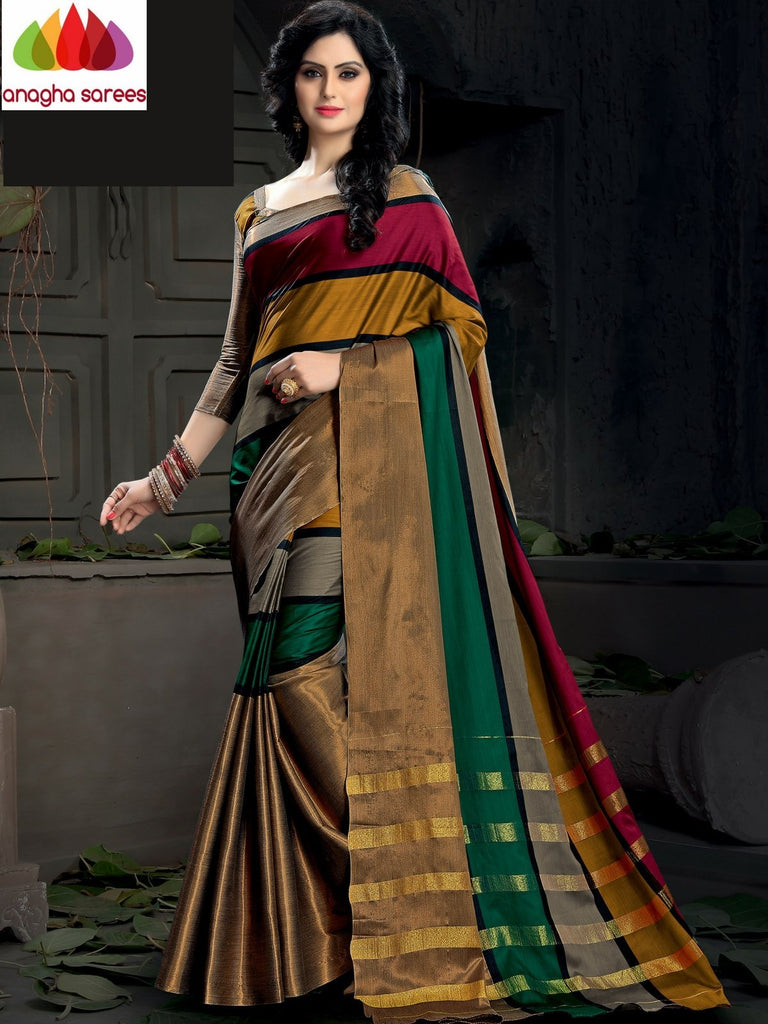 Soft Cotton Silk Saree - Multicolor ANA_982 Anagha Sarees