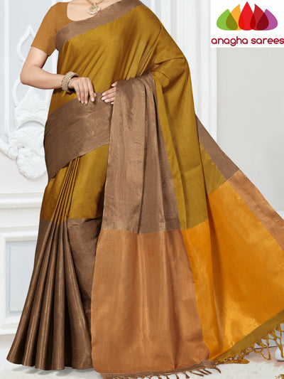 Soft Cotton-Silk Saree - Mustard  ANA_251 - Anagha Sarees