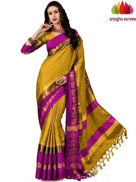 Anagha Sarees Cotton-silk Soft Cotton-Silk Saree - Mustard  ANA_A78