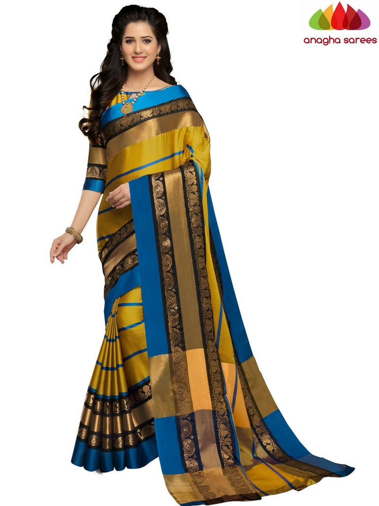 Anagha Sarees Cotton-silk Soft Cotton-Silk Saree - Mustard ANA_B91