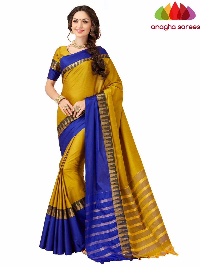 Soft Cotton-Silk Saree - Mustard/Blue  ANA_509 Anagha Sarees