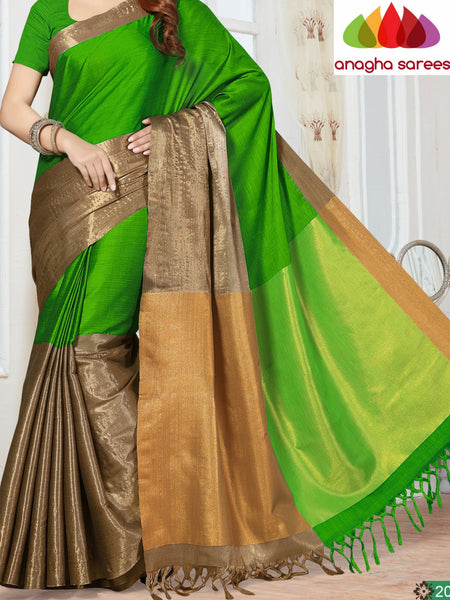Anagha Sarees Cotton-silk Soft Cotton-Silk Saree - Parrot Green  ANA_254