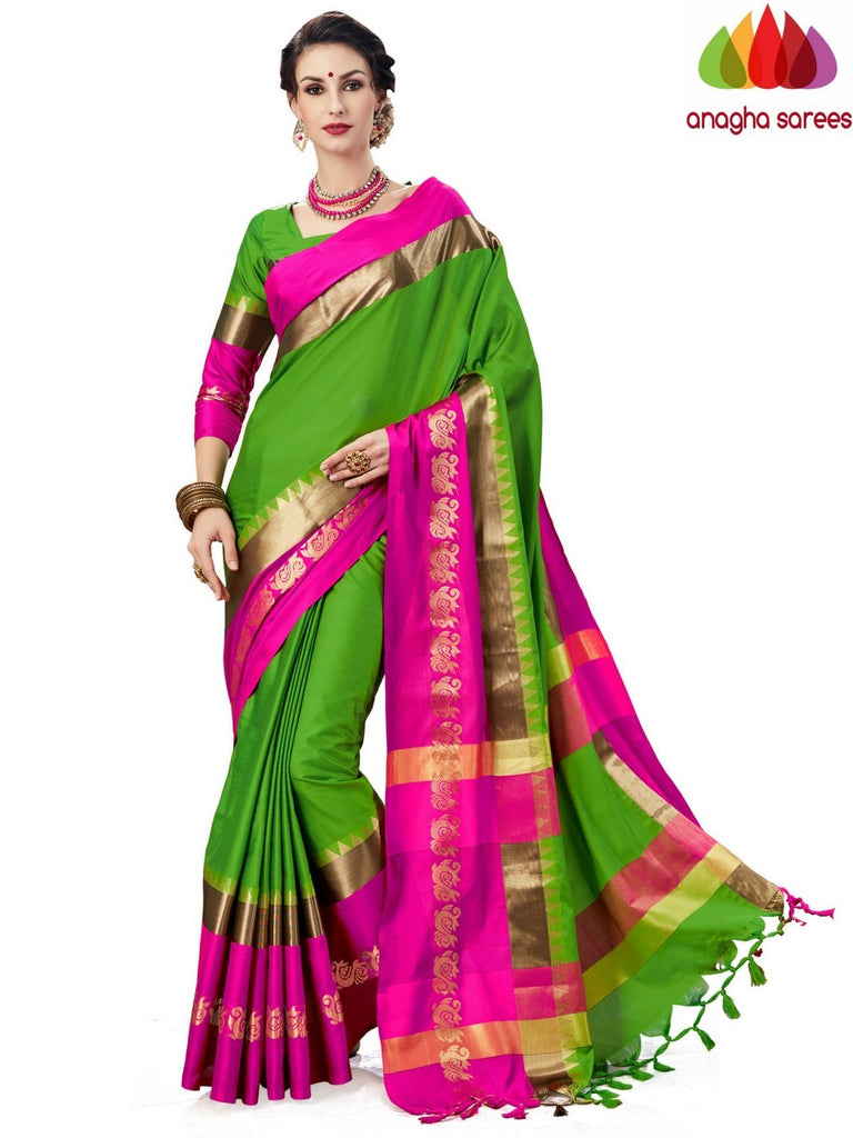 Soft Cotton-Silk Saree - Parrot Green  ANA_A76 Anagha Sarees