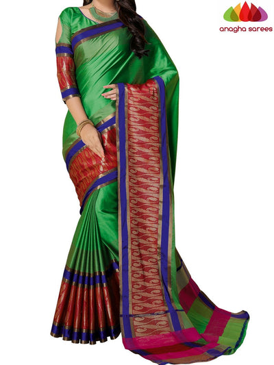 Soft Cotton-Silk Saree - Parrot Green ANA_B85 - Anagha Sarees