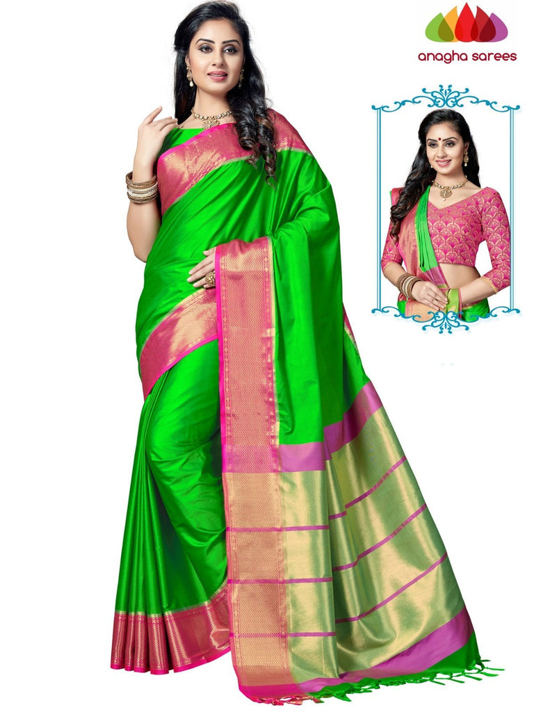 Soft Cotton-Silk Saree - Parrot Green ANA_E56 Anagha Sarees