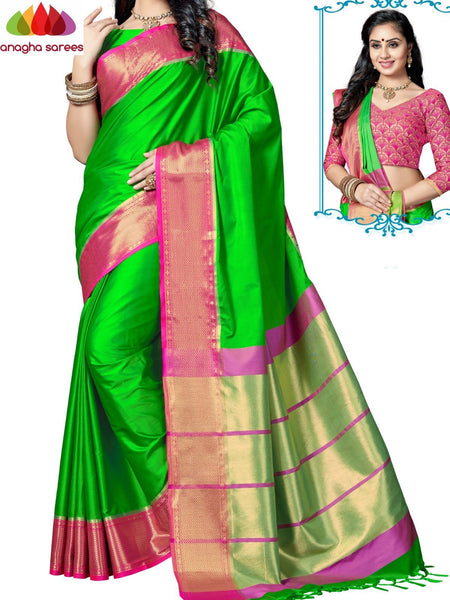 Soft Cotton-Silk Saree - Parrot Green  ANA_E56