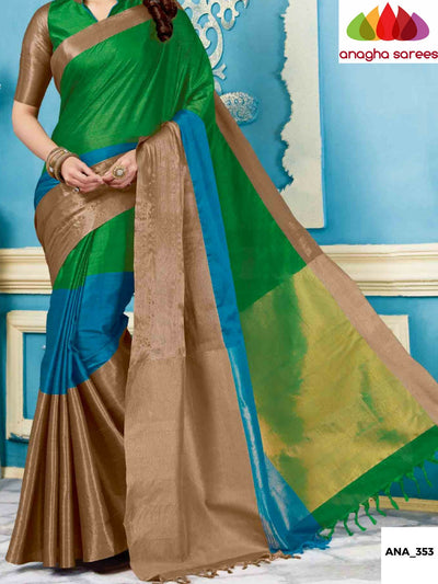 Soft Cotton-Silk Saree - Parrot Green/Light Blue  ANA_353 - Anagha Sarees