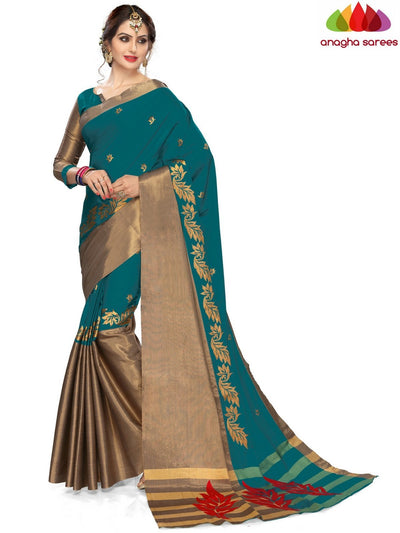 Soft Cotton-Silk Saree - Peacock Green ANA_B17 - Anagha Sarees