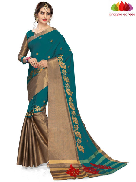 Anagha Sarees Cotton-silk Soft Cotton-Silk Saree - Peacock Green ANA_B17
