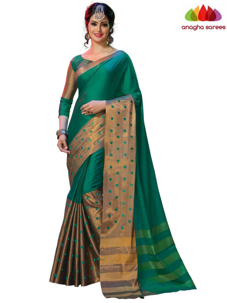 Anagha Sarees Cotton-silk Soft Cotton-Silk Saree -Peacock-Green  ANA_B19