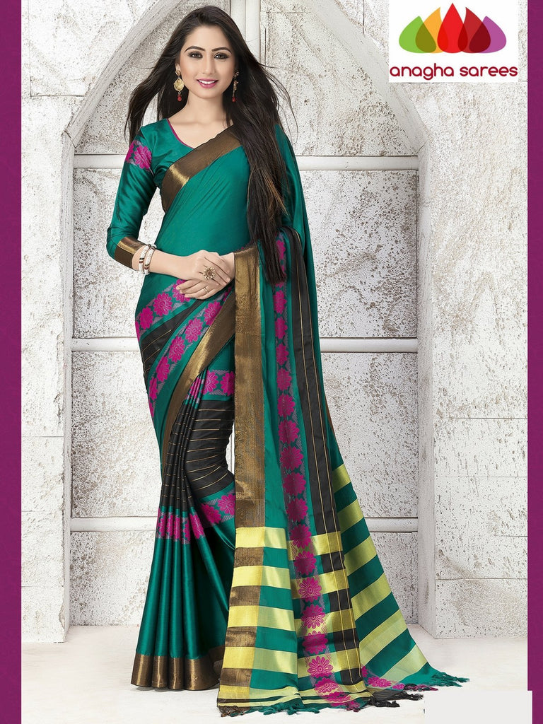 Anagha Sarees Cotton-silk Soft Cotton Silk Saree - Peacock Green/Black ANA_765