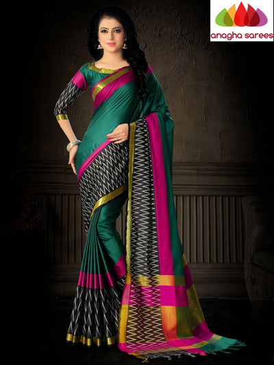 Soft Cotton Silk Saree - Peacock Green/Black  ANA_809 - Anagha Sarees