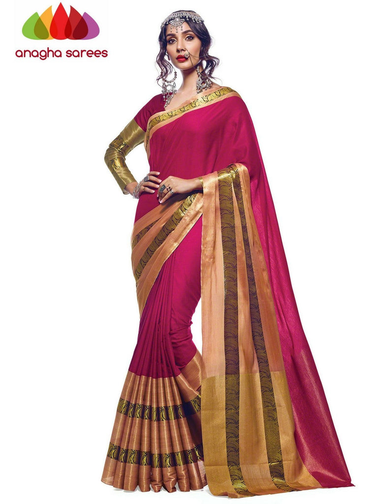 Soft Cotton Silk Saree - Pink  ANA_571 Anagha Sarees