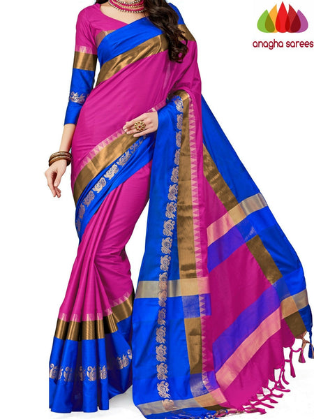 Anagha Sarees Cotton-silk Soft Cotton-Silk Saree - Pink  ANA_A80