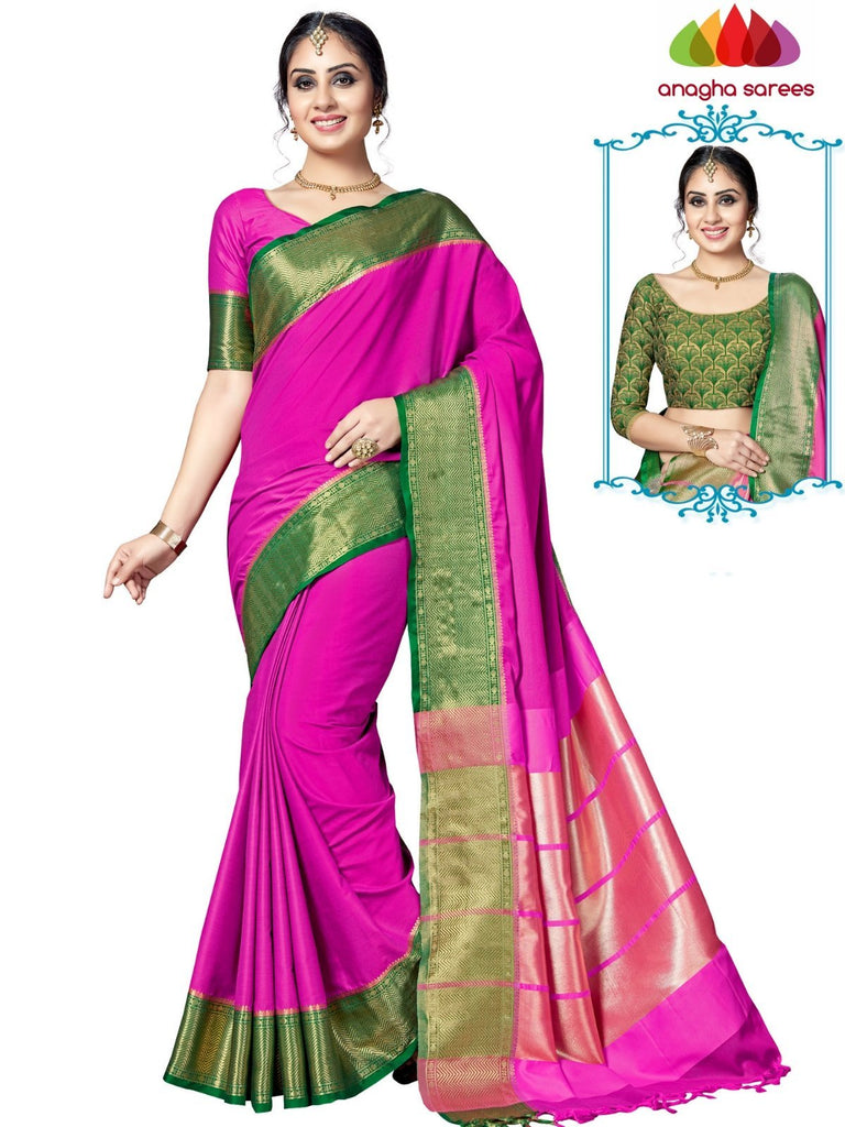 Soft Cotton-Silk Saree - Pink ANA_E54 Anagha Sarees