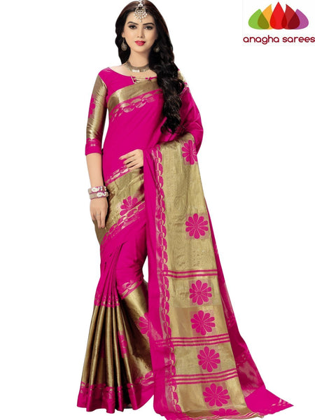 Anagha Sarees Cotton-silk Soft Cotton Silk Saree - Pink/Gold ANA_747