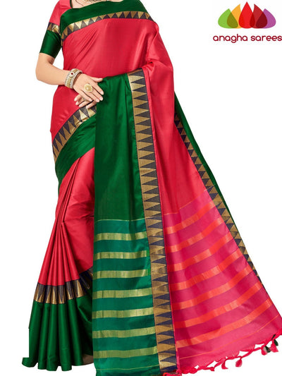 Soft Cotton-Silk Saree - Pink/Green  ANA_505 - Anagha Sarees