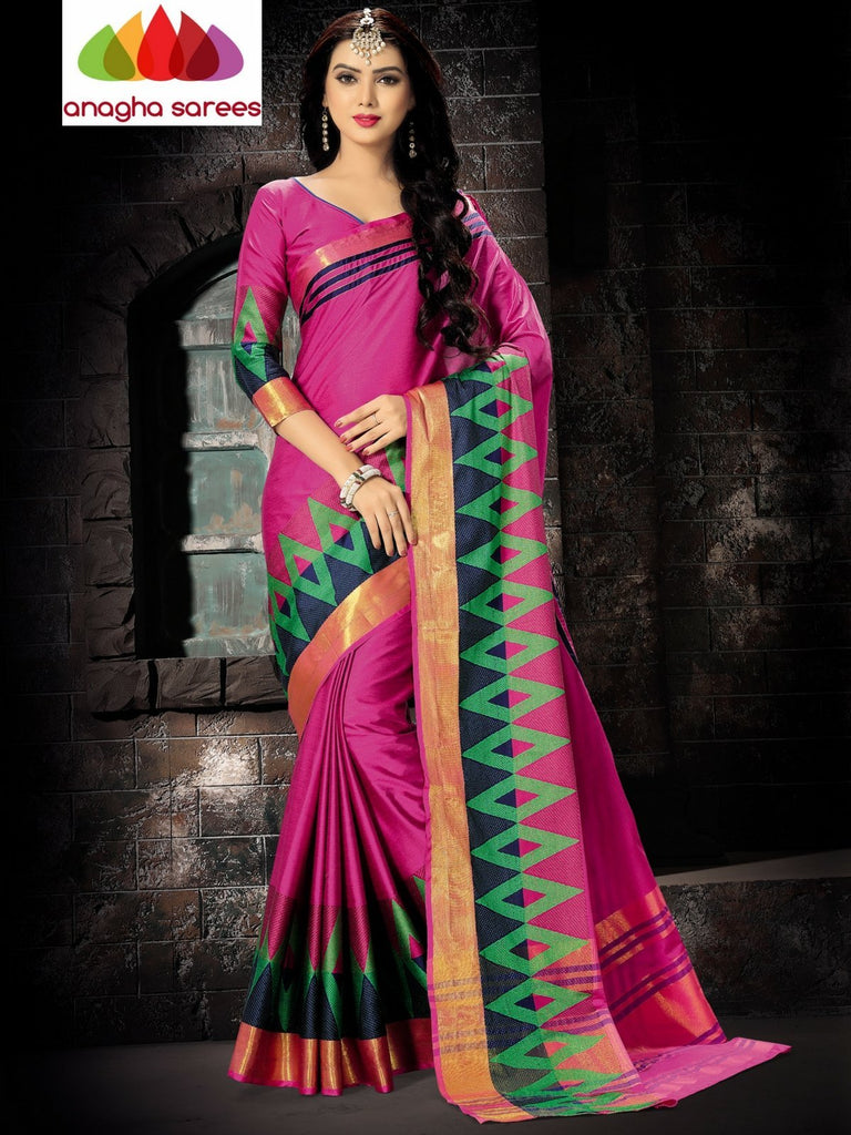 Anagha Sarees Cotton-silk Soft Cotton Silk Saree - Pink/Multicolor ANA_748