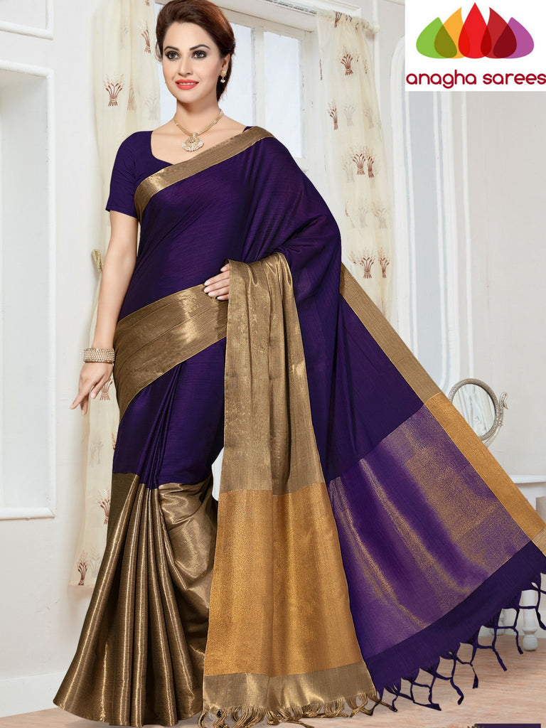 Soft Cotton-Silk Saree - Purple  ANA_255 Anagha Sarees
