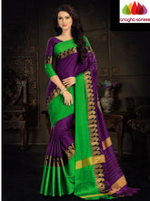 Anagha Sarees Cotton-silk Soft Cotton Silk Saree - Purple/Green  ANA_919