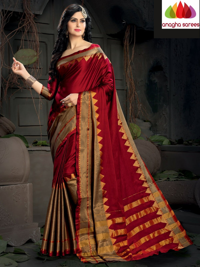 Soft Cotton Silk Saree - Red  ANA_987 Anagha Sarees