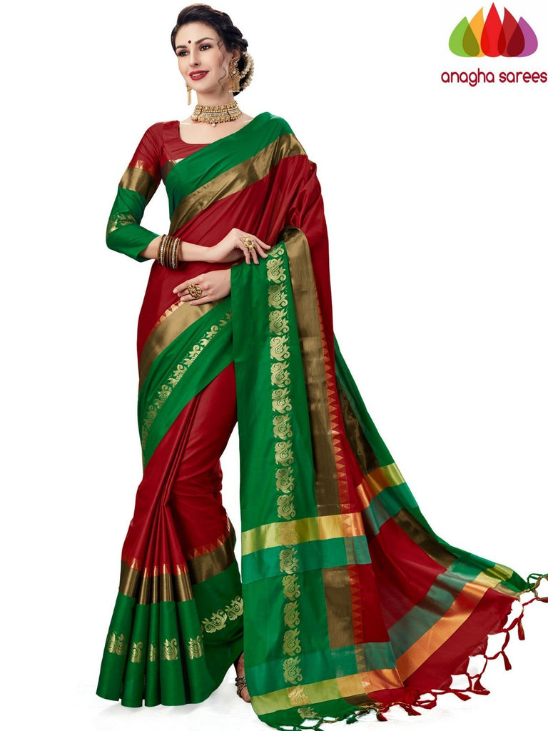 Soft Cotton-Silk Saree - Red  ANA_A81 Anagha Sarees