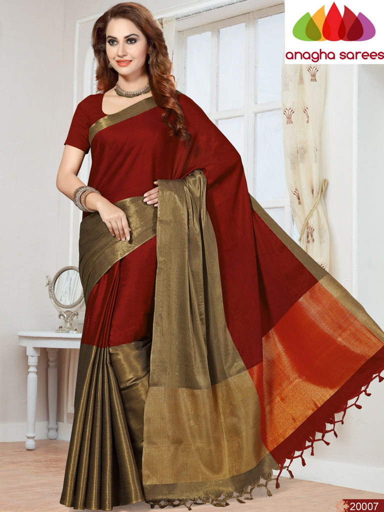 Soft Cotton-Silk Saree - Red/Maroon  ANA_247 Anagha Sarees