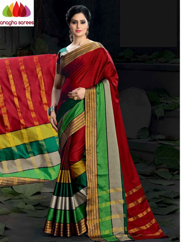 Soft Cotton Silk Saree - Red/Multicolor  ANA_985 Anagha Sarees