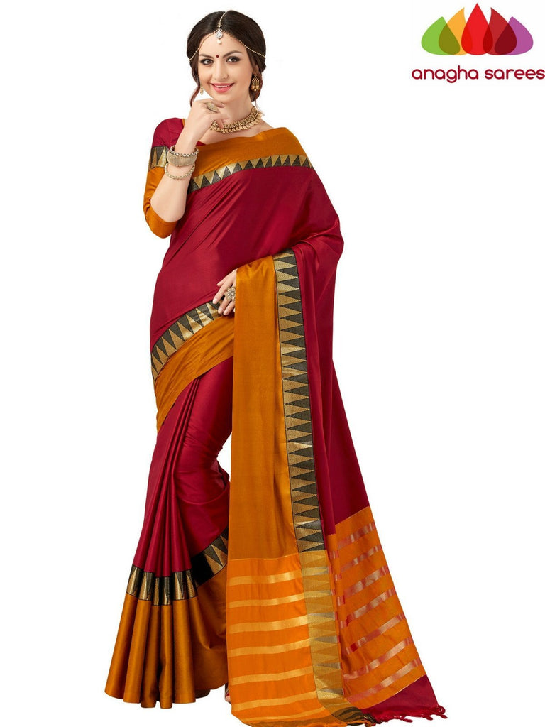 Soft Cotton-Silk Saree -  Red/Mustard ANA_507 Anagha Sarees