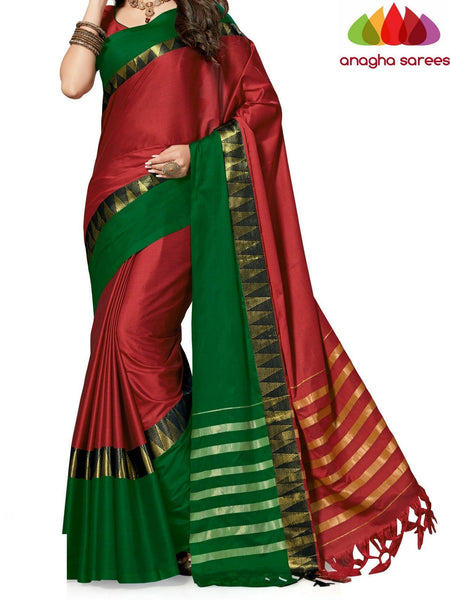 Anagha Sarees Cotton-silk Soft Cotton-Silk Saree - Rust/Green  ANA_506