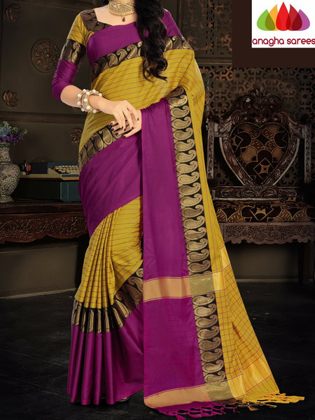 Anagha Sarees Cotton-silk Soft Cotton Silk Saree - Yellow/Magenta  ANA_921