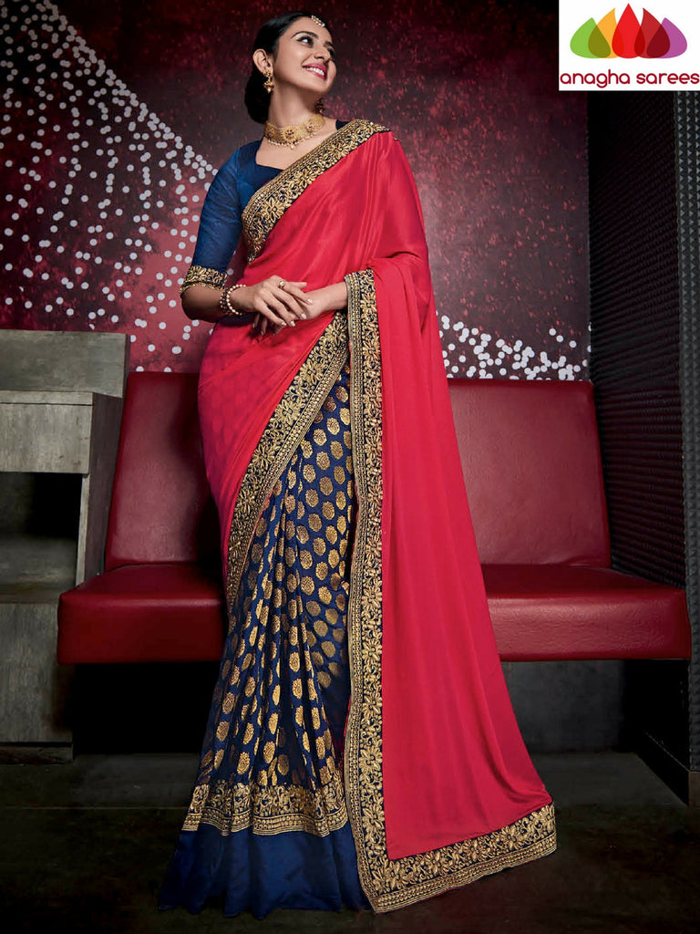 Designer Soft Shiffon Silk Saree - Red/Blue ANA_478 - Anagha Sarees