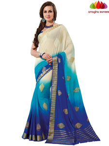 Designer Crepe Silk Saree - Cream/Blue : ANA_D68