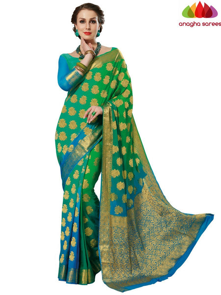 Designer Crepe Silk Saree - Light Blue/Light Green : ANA_D59 - Anagha Sarees