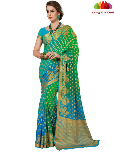 Designer Crepe Silk Saree - Light Blue/Light Green : ANA_D66