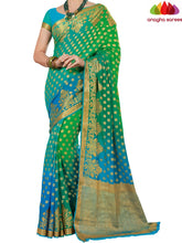 Designer Crepe Silk Saree - Light Blue/Light Green : ANA_D66 - Anagha Sarees
