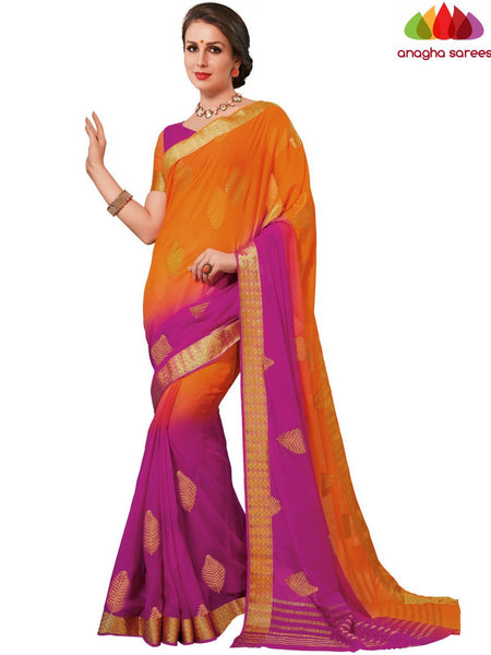 Designer Crepe Silk Saree - Orange/Pink : ANA_D69