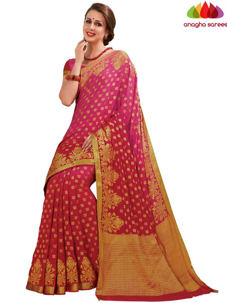 Designer Crepe Silk Saree - Pink/Red : ANA_D65