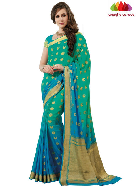 Designer Crepe Silk Saree - Sea Green/Light Blue : ANA_E50