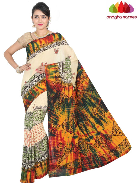 Anagha Sarees Crepe Silk Saree Length=6.3metres, width=45 inches / Multicolor Hand Print Crepe Silk Saree - Multicolor : ANA_H35