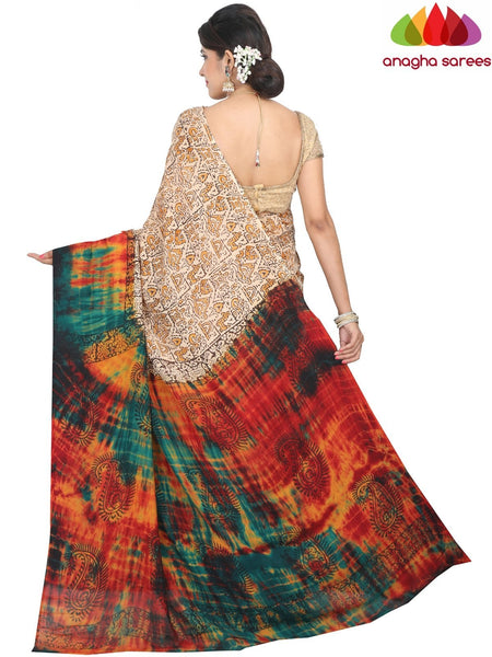 Anagha Sarees Crepe Silk Saree Length=6.3metres, width=45 inches / Multicolor Hand Print Crepe Silk Saree - Multicolor : ANA_H36