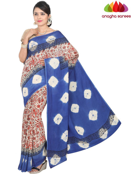 Anagha Sarees Crepe Silk Saree Length=6.3metres, width=45 inches / Multicolor Hand Print Crepe Silk Saree - Multicolor : ANA_H37