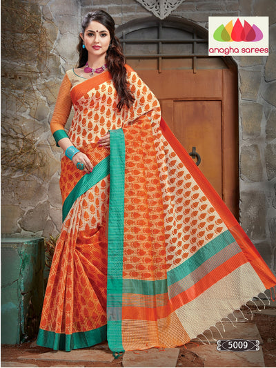 Designer Fancy Checks Saree - Orange/Cream : ANA_072 - Anagha Sarees