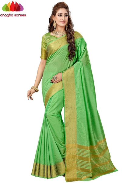 Anagha Sarees Fancy silk Length = 6.2 m Width = 44 inches / Light Green Fancy Silk Saree - Light Green : ANA_H95