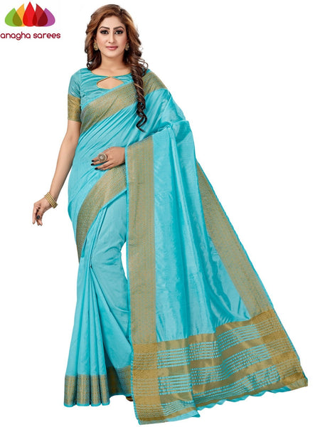 Anagha Sarees Fancy silk Length = 6.2 m Width = 44 inches / Sky Blue Fancy Silk Saree - Sky Blue : ANA_H94